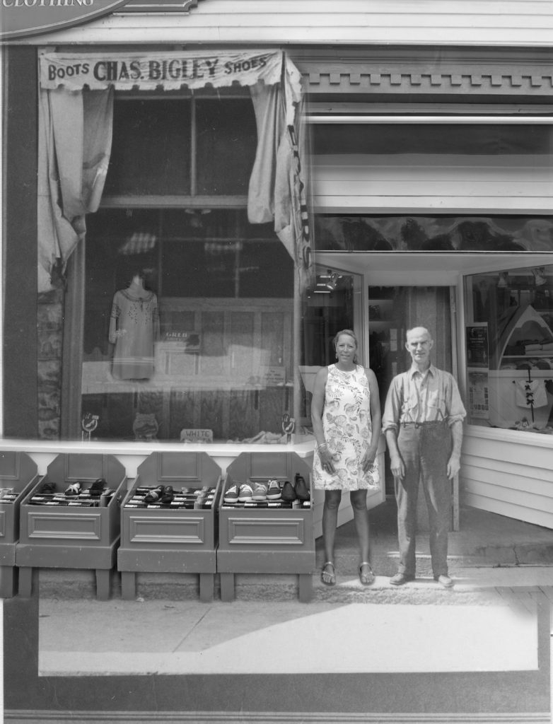 A contemporary photograph of a shoe store owner superimposed on a image of the original shop. and owner.