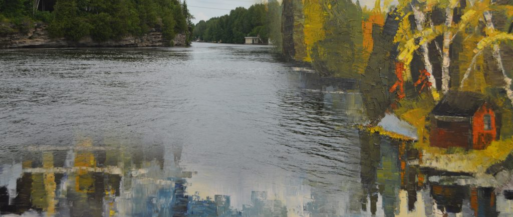 A contemporary photograph of a river and gorge with painting superimposed.