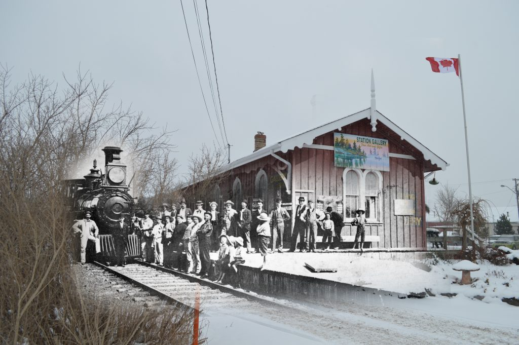 A B&W photograph of a train and crowd of people superimposed on a contemporary photograph of the station.
