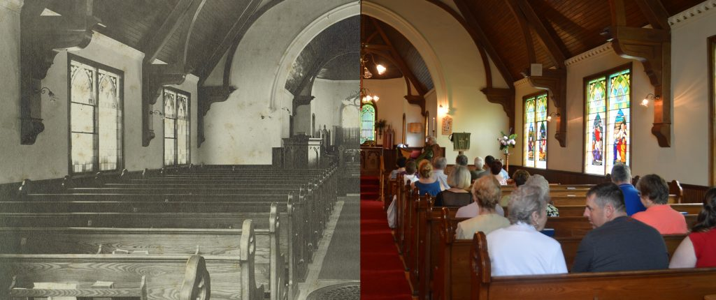 The interior of a church the left half of the image is black and white, the right half is contemporary and features people sitting in the pews