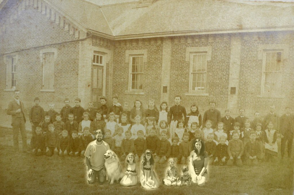 A contemporary photograph of a family superimposed on a class picture in front of a brick schoolhouse.