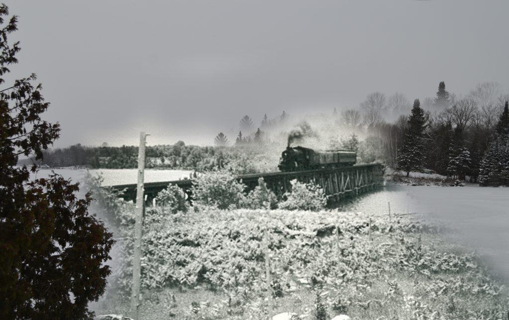 A B&W photo of a train crossing a bridge, with a superimposed contemporary winter scene.