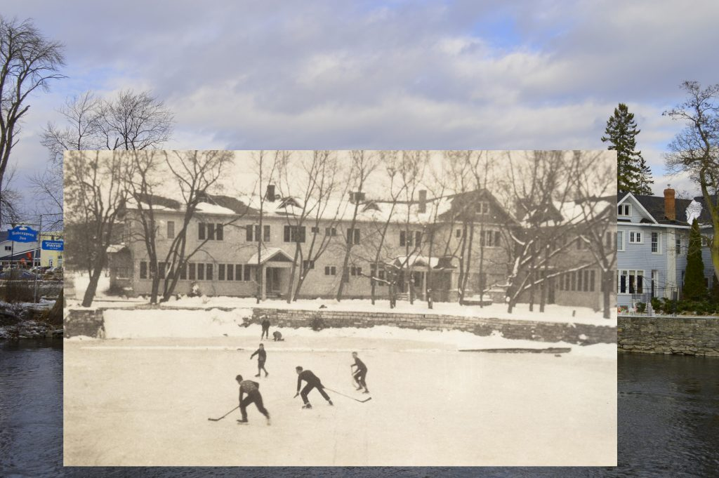 A B&W photograph of a hockey game on a river with an inn behind, superimposed on a contemporary photo of the same building.