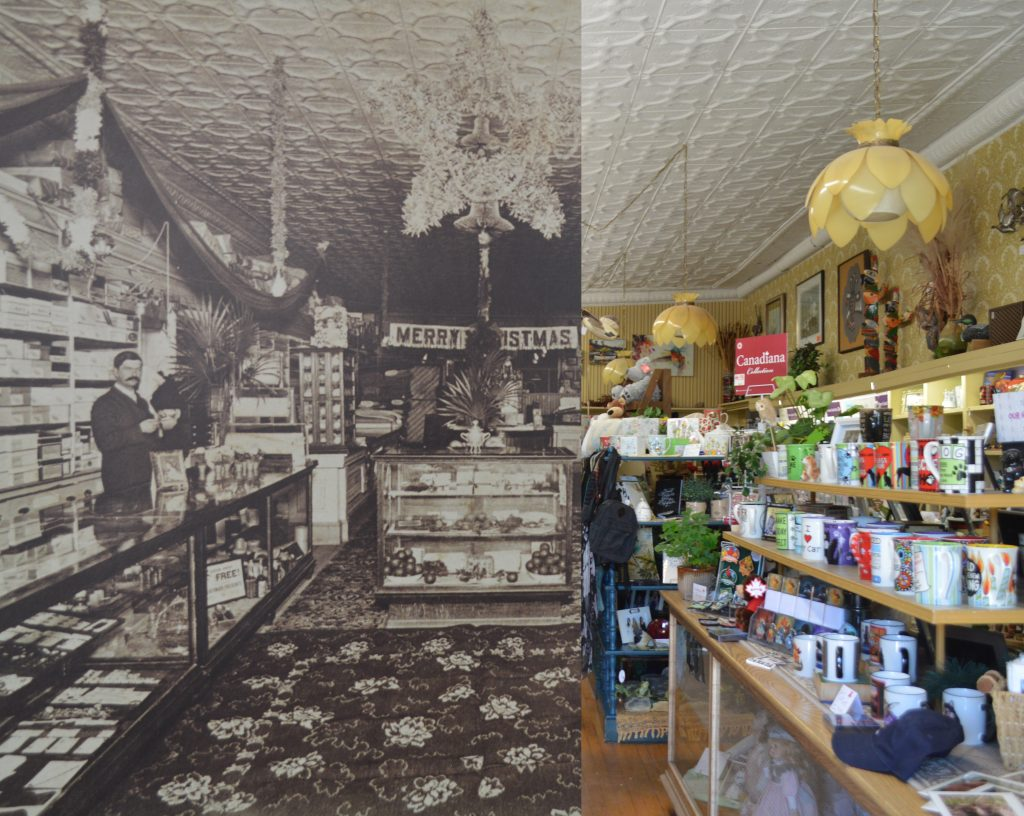 On the left a B&W photo of a gentleman manning his store, on the right a contemporary photo of the same shop.