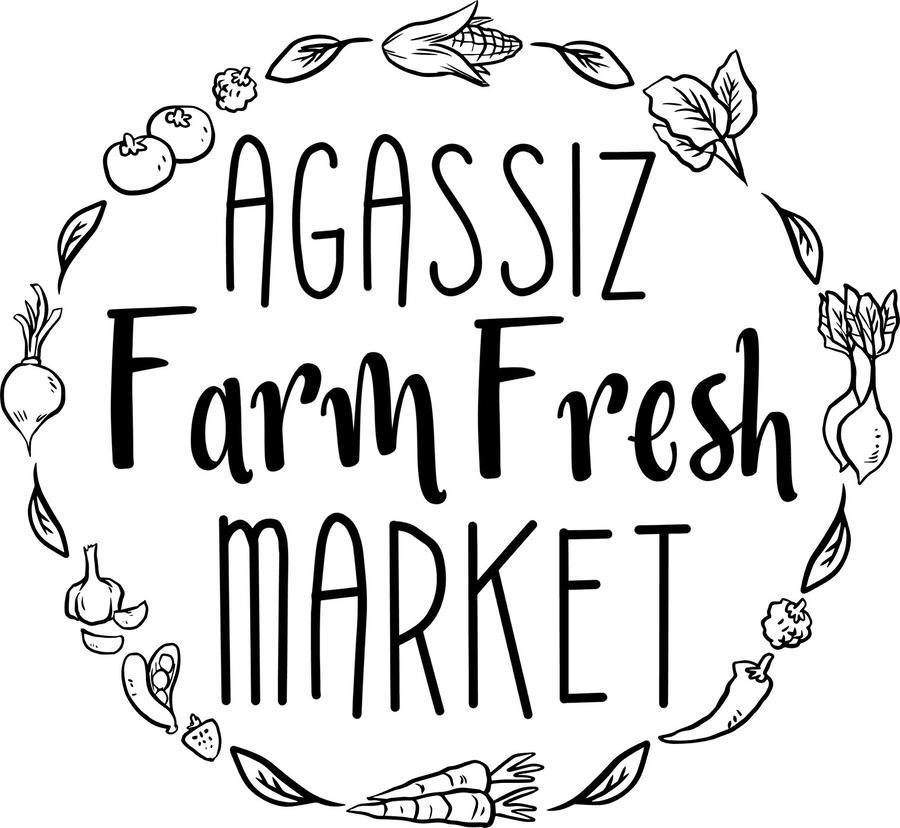 Logo en noir et blanc d'Agassiz Farm Fresh Market. Des légumes et des fruits encerclent les mots.