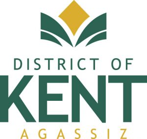 Colour logo of District of Kent, Agassiz. Lettering is green and yellow.