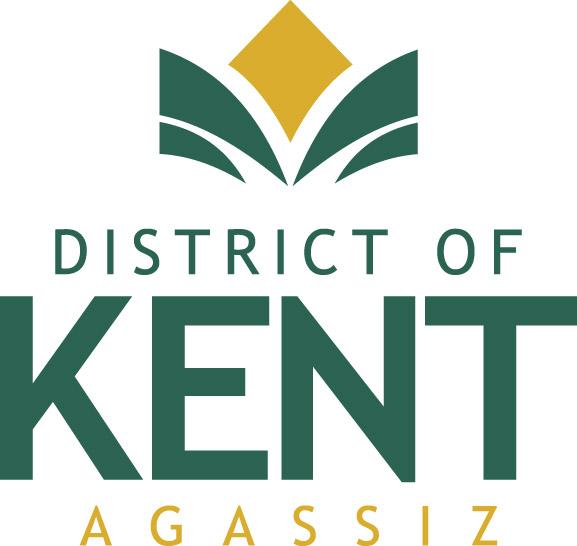 Logo en couleur du district de Kent, Agassiz. Le lettrage est en vert et jaune.