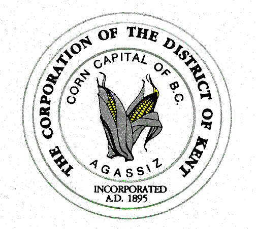 Colour logo of The Corporation of the District of Kent. Sketch of yellow ears of corn.