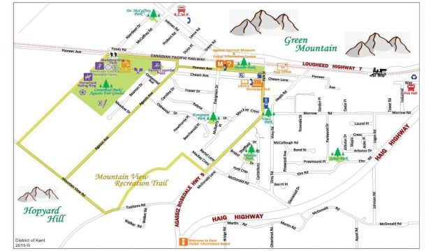 Colour image of the Agassiz town site. Map illustrates roads, parks, and surrounding mountains, 2015.