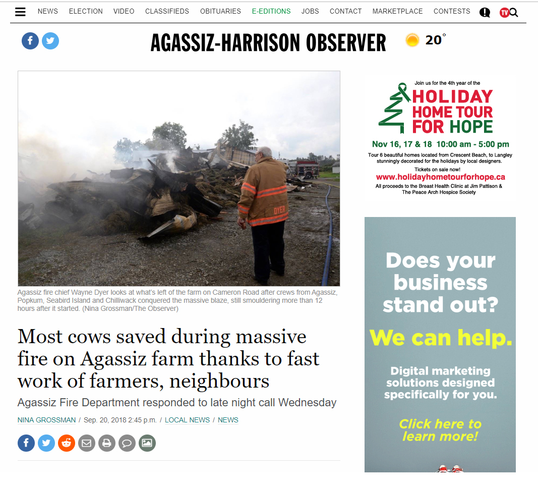Colour image capture of digital newspaper story from The Agassiz-Harrison Observer about Agassiz dairy farm fire, September 20, 2018.