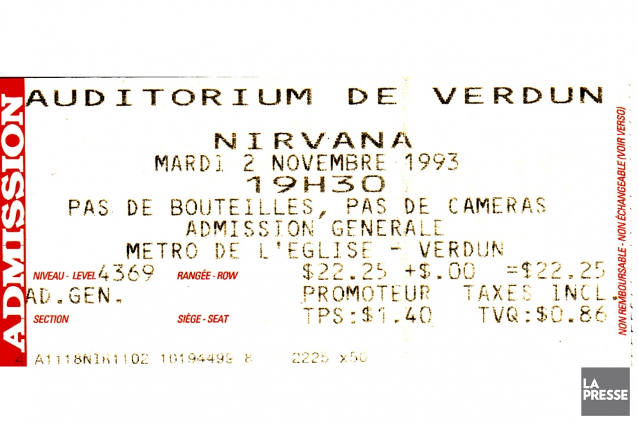 Colour photo of a show ticket on which the location, date, time and admission price are marked, among other details.