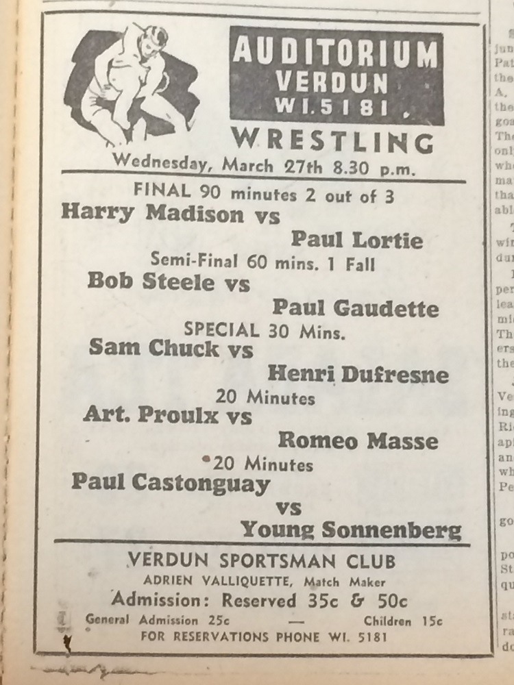 Advertisement in a newspaper, listing wrestling matches presented at the Verdun Auditorium on Wednesday, March 27, 1940, at 8:30 p.m., along with the wrestlers' names, the wrestling time, the location and the admission charge.