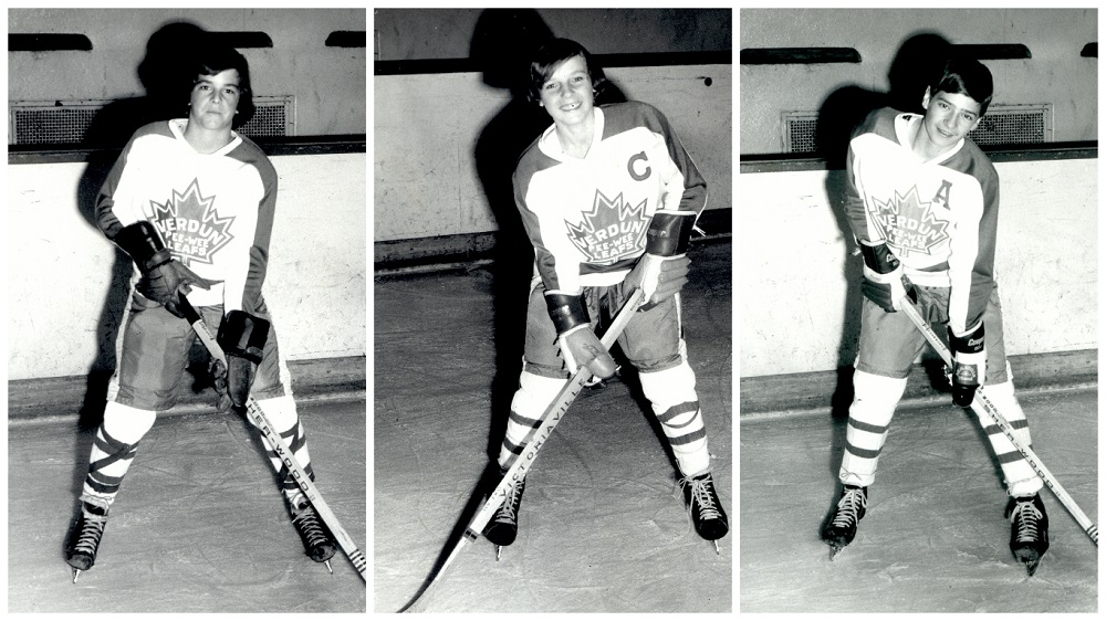 Black-and-white photomontage showing three young boys wearing the same hockey uniform and holding a hockey stick. One of the boys is wearing the letter C on his sweater, while another sports the letter A.