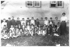 36 schoolchildren with thier teacher