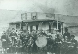 Band in front of Audet's house.