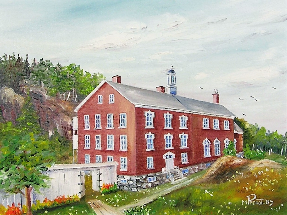 Painting of a three-storey red-brick building surrounded by trees and vegetation.