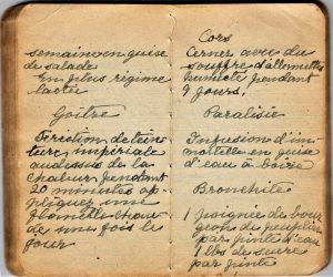 Small notebook, handwritten with a fountain pen.