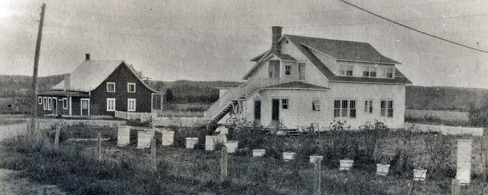 Photo en noir et blanc de deux maisons de campagne.