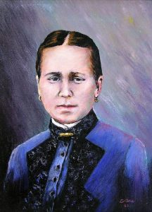 Painting of a woman dressed in blue. Her hair is parted in the middle.