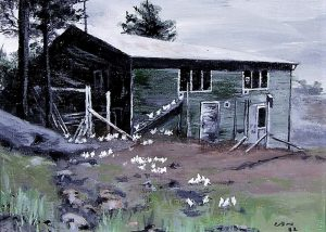 Painting of a two-storey wood building surrounded by hens.