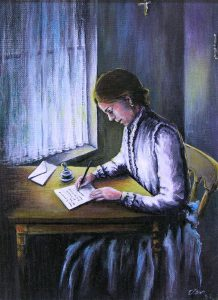 Painting of a young woman sitting at a table writing a letter with a fountain pen.