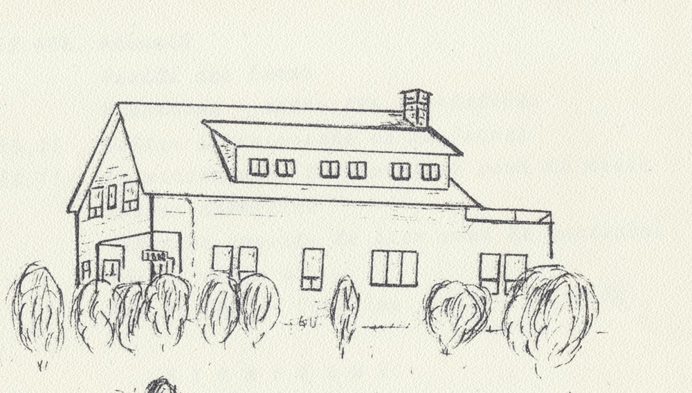 Black pencil drawing of a house on white background.