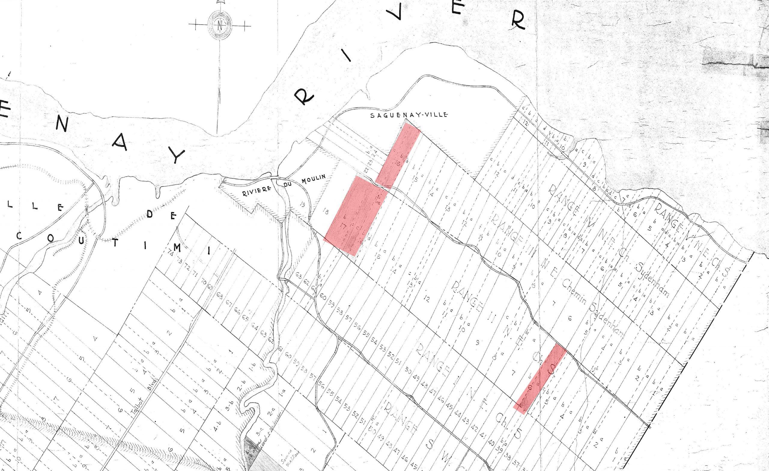 plan en noir et blanc de lot de terres, avec des sections en couleur rouge.