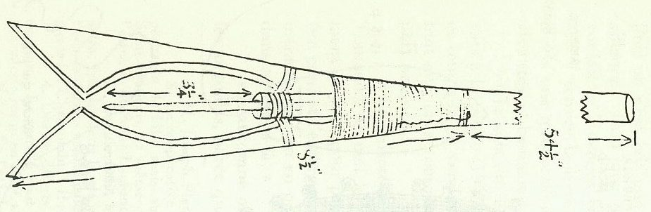 Black and white drawing of the tip of a nigogue, a type of harpoon used to spear salmon and eel in shallow water.