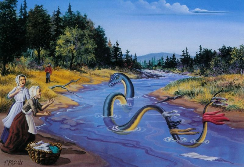 Painting of two women on the bank of a winding river. They are surprized to see a large sea serpent swimming in the water as they do their washing. A hunter in the background watches the scene, which dates from the 1800s.