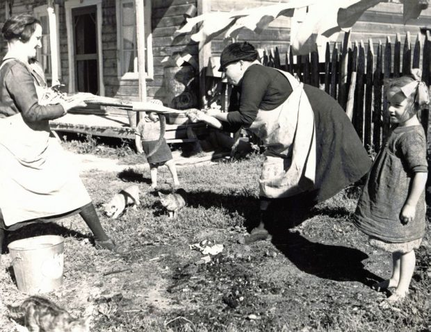 In front of an old house, a woman holds an eel by the head while another woman removes the skin by pulling on it. Two young girls watch the women as they work, while three cats hover nearby. Black and white photograph.