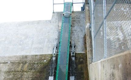 Cement wall of a hydroelectric dam. A narrow slide-like structure running up the wall enables eels to climb over the dam.