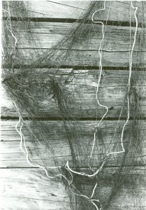 Black and white photo of a fishing net.