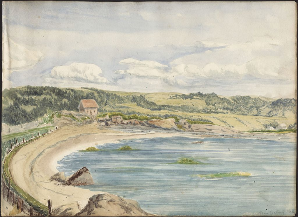 Watercolour painting of a curved sandy beach, with a wooden fence along the back edge and a house in the middle distance, with a clouded sky looming over.