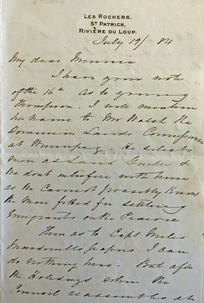 A photograph of a hand-written letter dated July 19, 1884.