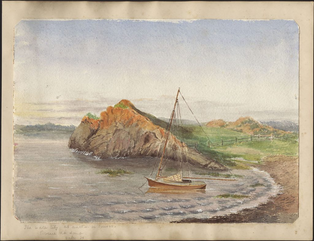 Watercolour painting of an inlet on a river, with an anchored small sailboat near the shoreline and a large rocky outcrop behind it.