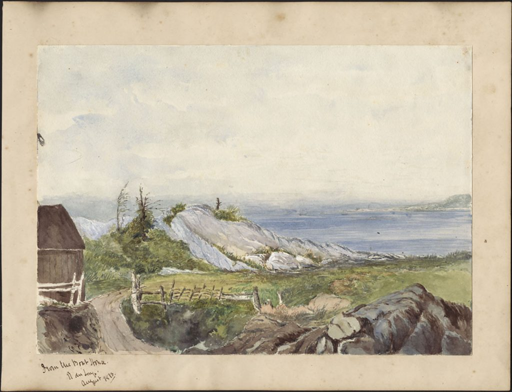 Watercolour painting of a river scene depicting part of a wooden building, a pathway, rocky outcrops, a wooden fence, and the Saint Lawrence River in the distance.
