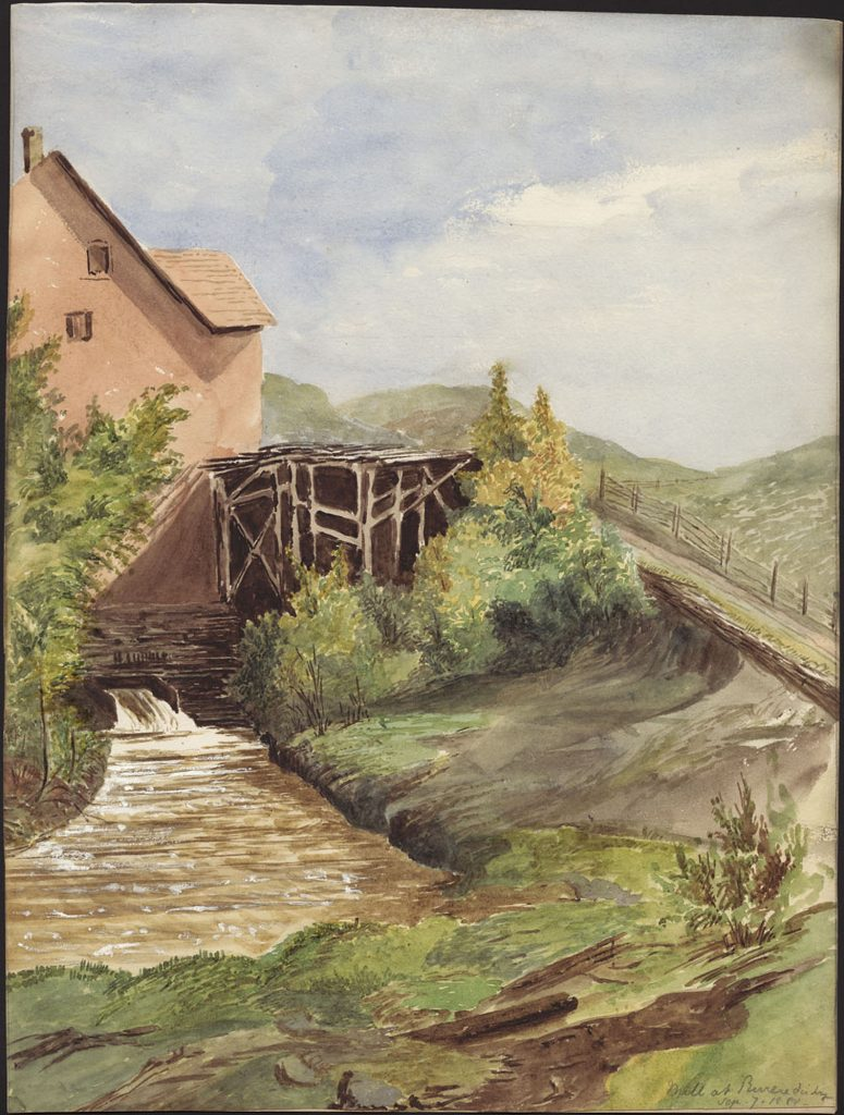 Watercolour painting of part of a tall building from the bottom of which a chute of water gushes into a waterway. A wooden structure is erected next to the building and shrubs grow next to the structure.