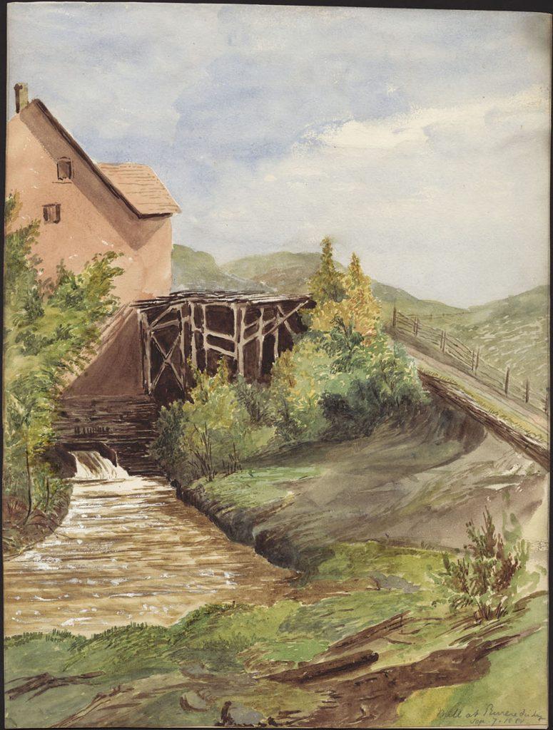 Aquarelle illustrant une partie d'un moulin alimenté par une goulotte déversant de l'eau dans un cours d'eau. Une structure en bois est érigée à côté du bâtiment derrière une haie d'arbustes.