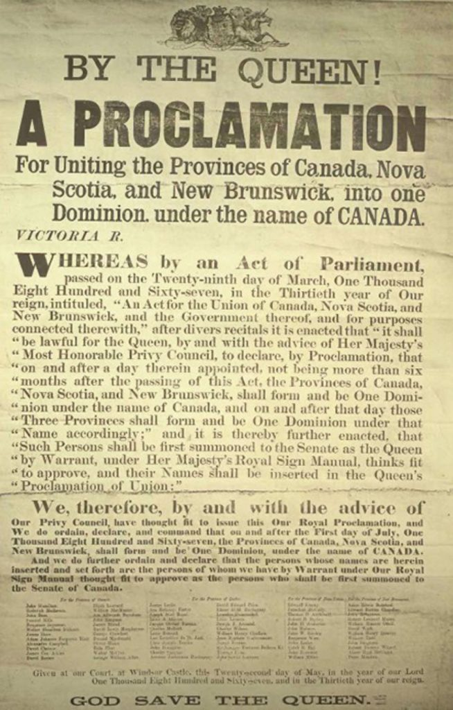 A photo of the poster announcing Queen Victoria's proclamation creating the Dominion of Canada, July 1, 1867.