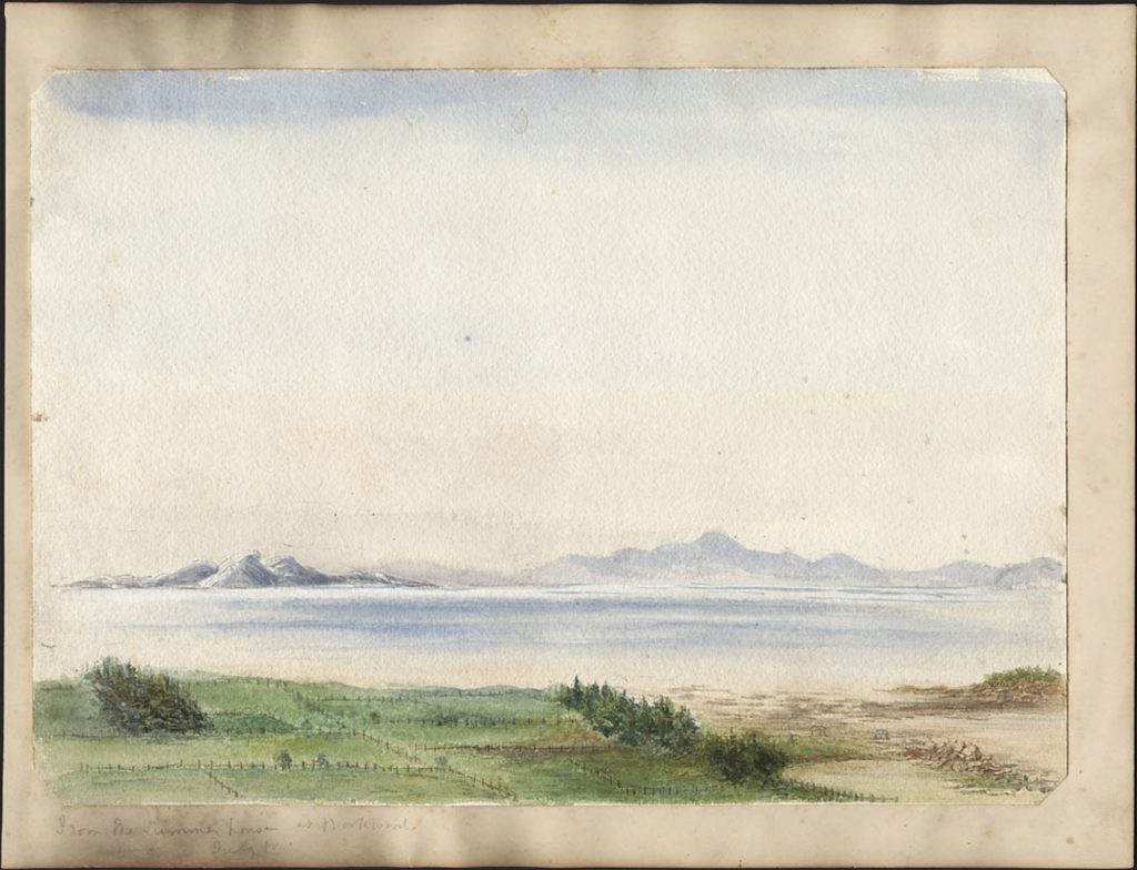 Watercolour of fields divided by fences and treelines, with a wide river and mountains in the distance.