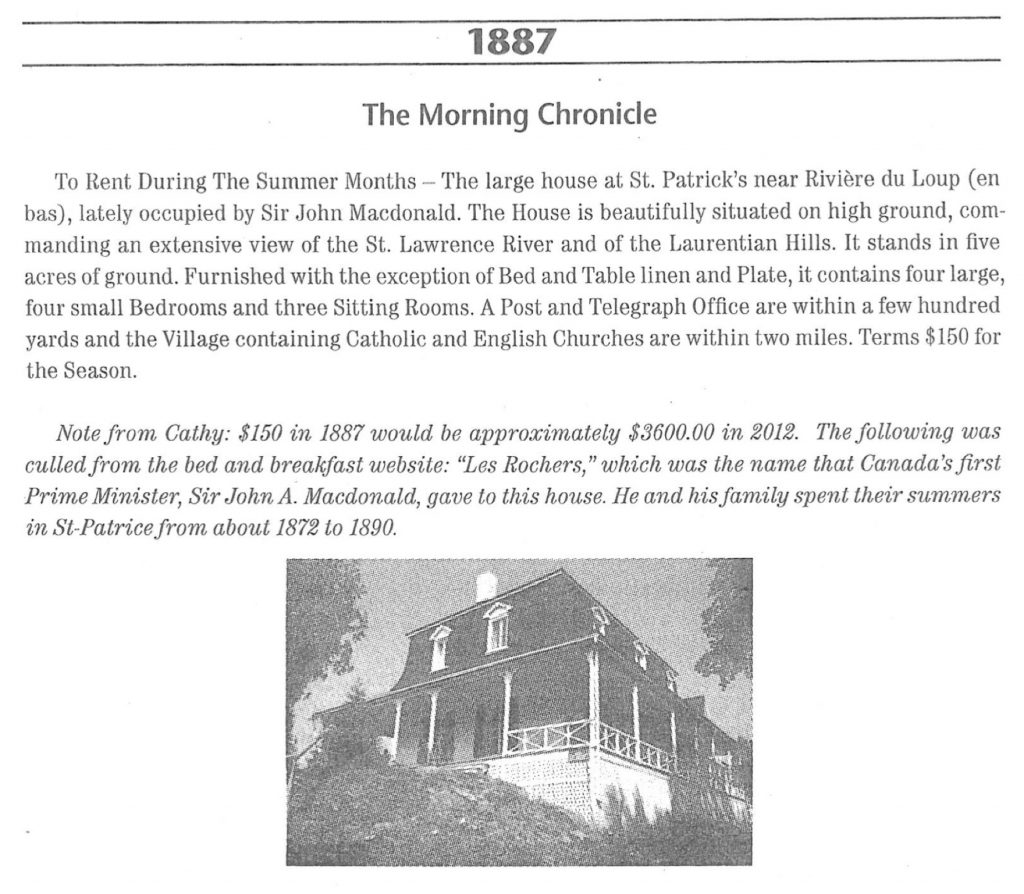 A photocopy of a listing in a newspaper (the Quebec Morning Chronicle) advertising a house for rent (Villa Les Rochers), with a photo of the house attached.
