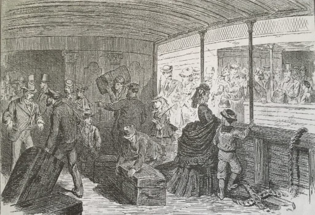 A black and white drawing or etching, depicting groups of travellers in Victorian clothing, men, women and children in various acts of moving furniture, forming queues, departing, arriving, or waiting.