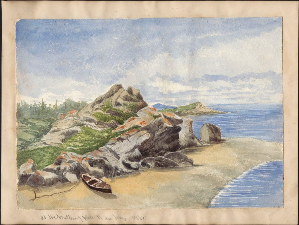 A vibrant watercolour depicting a riverside view looking lengthwise instead of across the river, a rocky outcropping looming over a sandy beach where a canoe is tethered. There are trees in the distance, and undulating clouds.