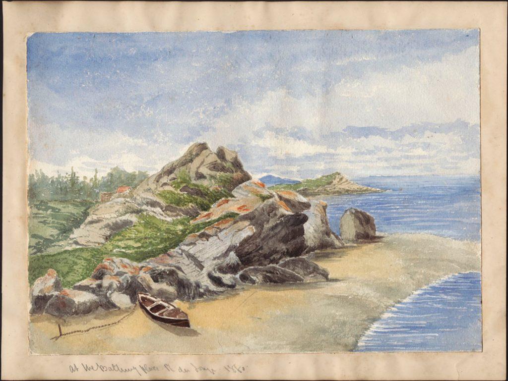 Aquarelle vibrante illustrant l'étendue longitudinale du fleuve, un affleurement rocheux se profilant audessus d'une plage de sable fin où est amarré un canot. En arrière-plan, une rangée d'arbres sous une bande de nuages ondulants.