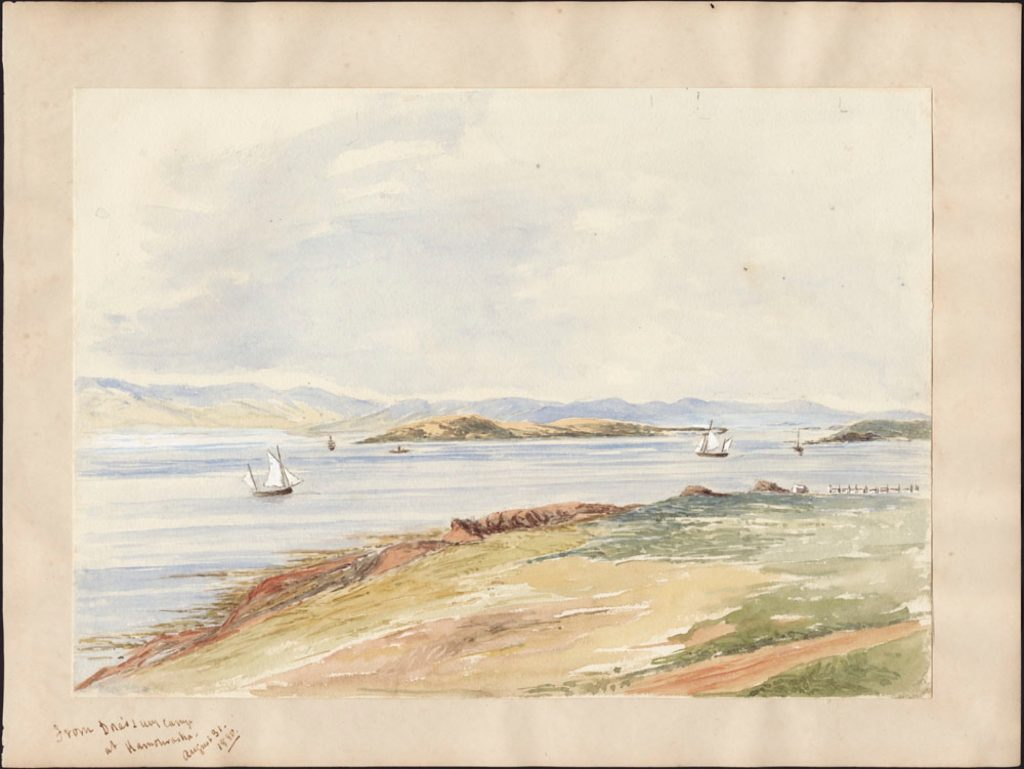 A pale watercolour of a river view, with a dirt road in the foreground, some sailboats on the water, an island and the far shore in the distance, under a colourless sky.