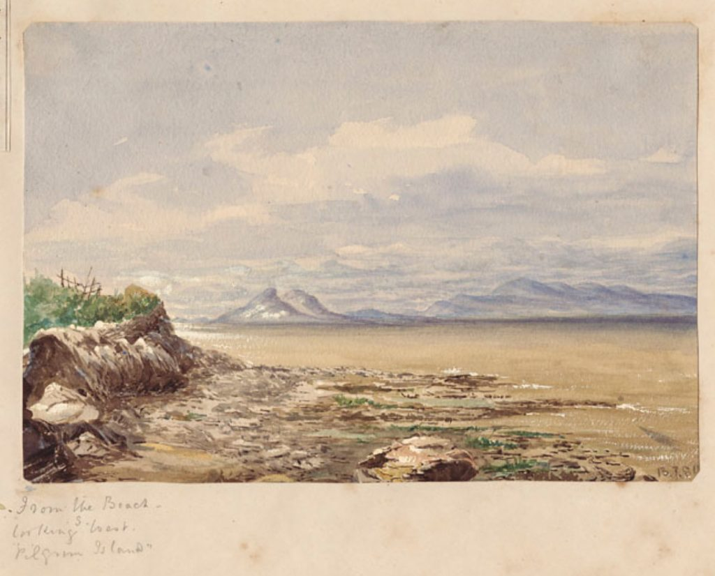 A pale watercolour of a riverside scene, with a rocky outcrop, gentle waves, with hills and islands in the distance, under a semi-clouded sky.
