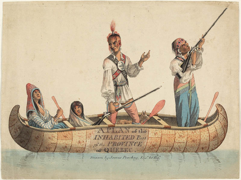 A precise and detailed watercolour of four indigenous people; two women, two men, in a birchbark canoe, one of the women holding a paddle and the two men, standing, holding rifles, one of which is aimed upwards and to the right.