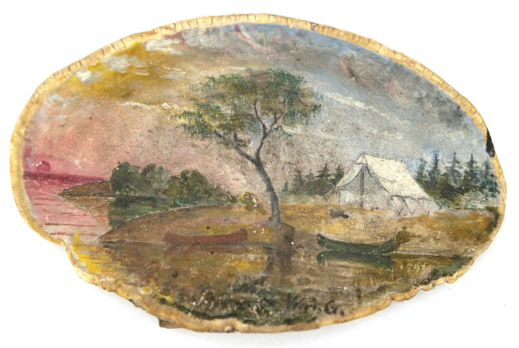 Oil painting on fungus of canoe and campsite