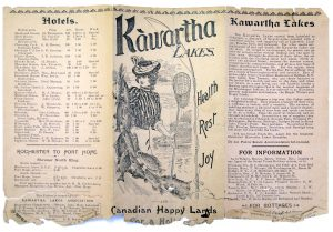 Fragile-looking three-page brochure featuring an illustration of a young woman in the centre holding fish and a fishnet. Columns of text on either side of illustration.