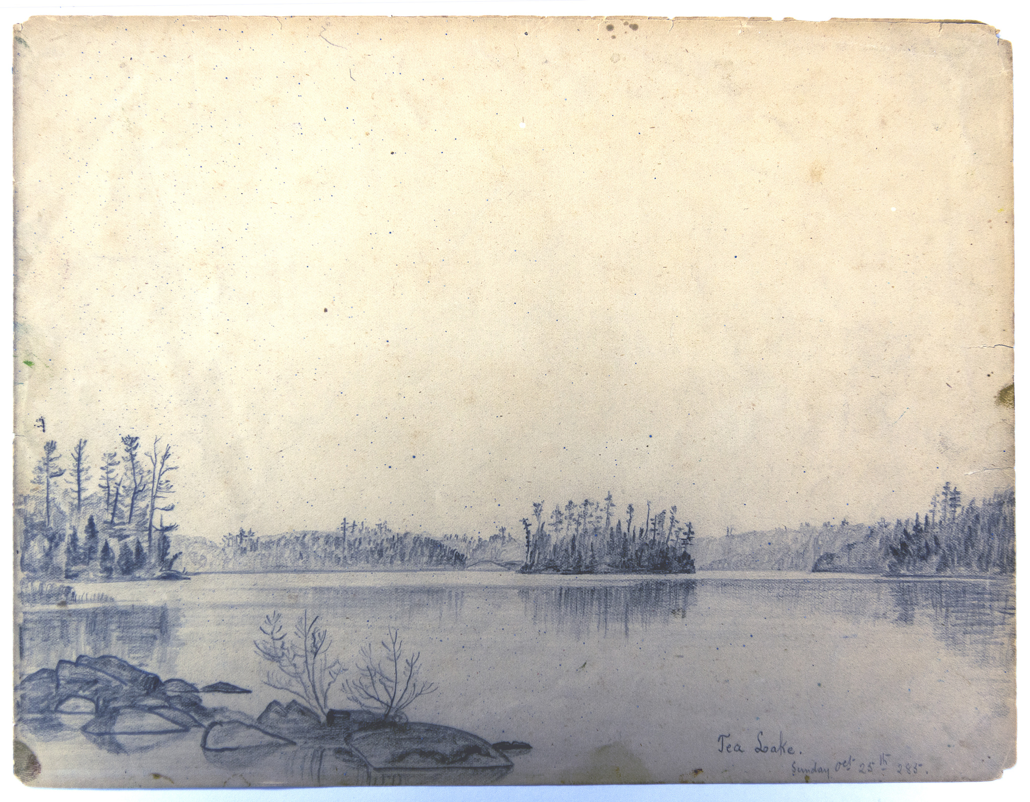 Black-and-white pencil drawing of lake surrounded by trees.